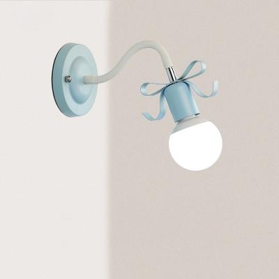 Lovely Ribbon Wall Light Colorful Nordic Girls Room Adjustable Metal 1 Light Sconce Lighting