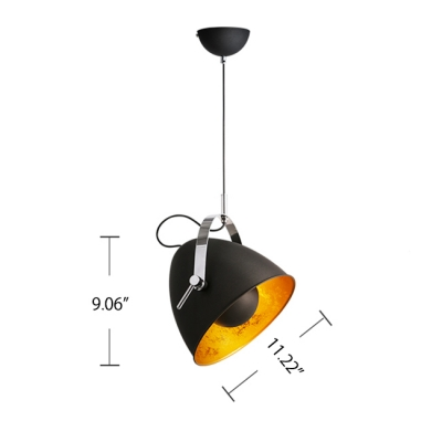 Nordic Style Single Light CFL Task Hanging Lamp in Black/White Finish