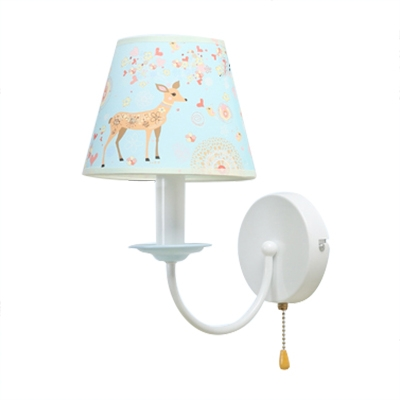 Fabric Shade Wall Lighting with Deer Pattern Modern White 1 Light Sconce Light for Corridor Staircase