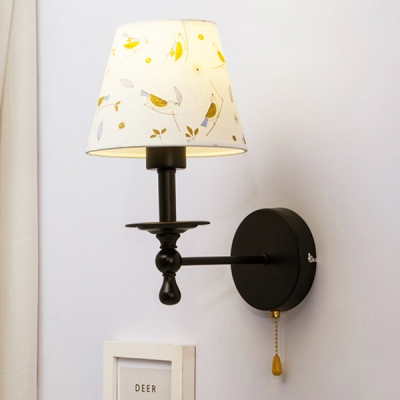Single Light Cone Wall Sconce Vintage Traditional Fabric Pull Chain Wall Light in Black