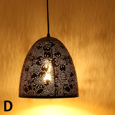 Vintage Style Hollowed-Out Metal Shade Single Head Pendant Light 7 Designs for Option