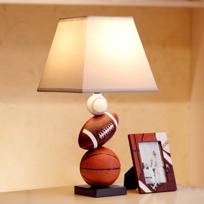 Sports Theme Tapered Table Light Fabric Single Light Decorative Table Lamp for Boys Bedroom