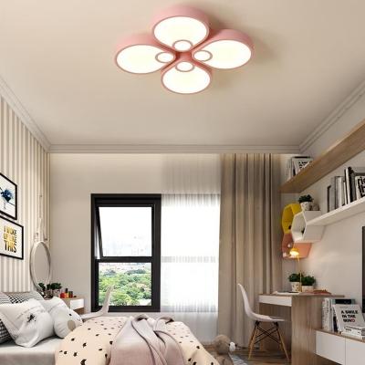 Acrylic Flower Flush Ceiling Light Contemporary Macaron 4 Lights Ceiling Lamp for Girls Room