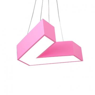 Letter V Ceiling Light Modernism Simple Acrylic Pendant Lamp for Children Bedroom