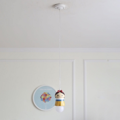 Cute Prince/Princess Suspended Light Cartoon Baby Kids Room Plastic 1 Light Pendant Light
