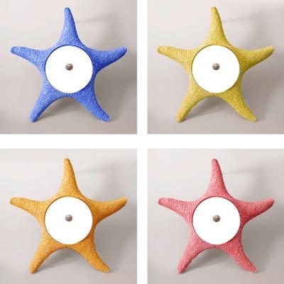 Acrylic Starfish LED Flush Mount Mediterranean Children Room 1 Light Flush Mount Fixture