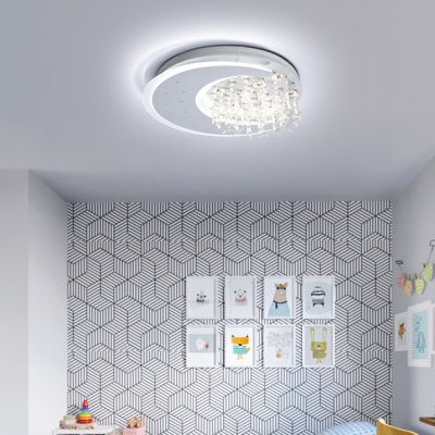 Contemporary Led Bedroom Flushmount Light Moon Crystal Ceiling Light Fixture for Dining Room Kitchen