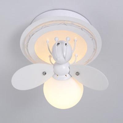 Bee Shape LED Flush Mount Children Bedroom Opal Glass 1/2/3 Light Decorative Lighting Fixture
