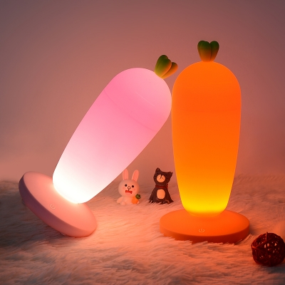 Cordless Silicon Carrot LED Night Light for Kids Bedroom in Orange/Pink/White