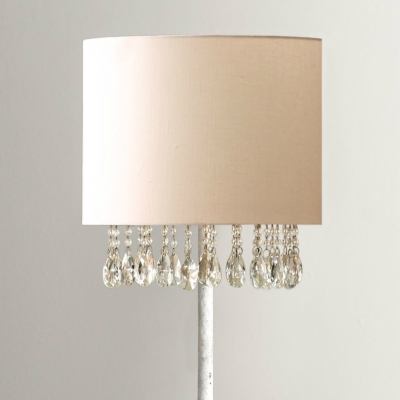 Country Chandelier Table Lamp Drum Table Lamp Crystal Light with Antique White