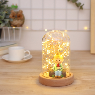 Home Decorative Girls Bedroom Doll Night Light with Glass Shade Button Switch/Dimmer Switch/Remote Control