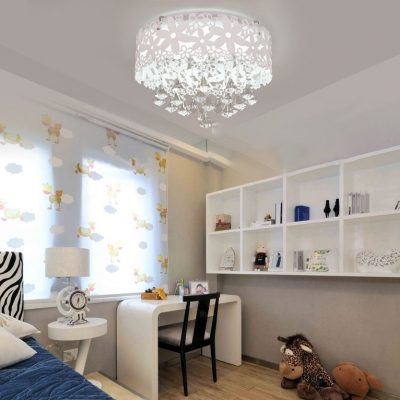 Modern Drum Crystal Flush Mount Crystal Chandelier Light For