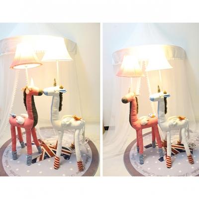 1 Head Unicorn Standing Light Kids Room Bedside White/Gray/Pink Fabric Shade Floor Lamp