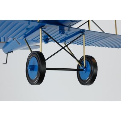 Adorable 4 Lights Biplane Hanging Light Boys Room Metallic Suspension Light in Blue/Yellow/Red