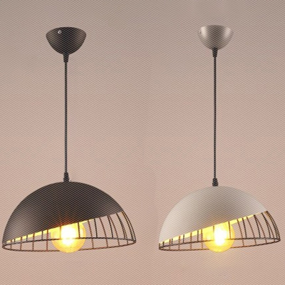 Wire Caged Dome Shade 1-Light Ceiling Pendant Light in Grey/Black Finish