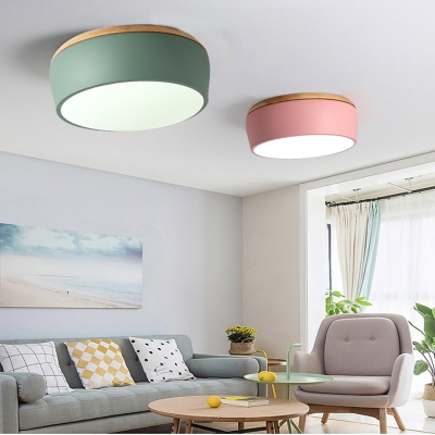 Macaron Modern Drum Flush Light Living Room Wooden LED Ceiling Fixture in Warm/White/Third Gear