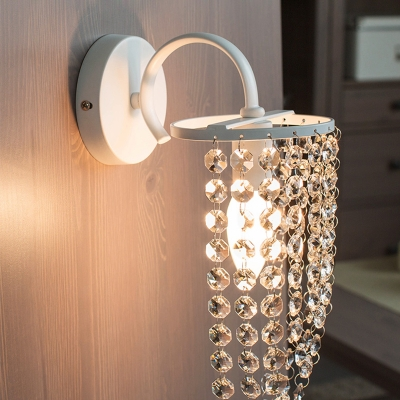 1 Light Crystal Wall Light White Finish Indoor Hallway Sconce Lighting for Kids Living Room