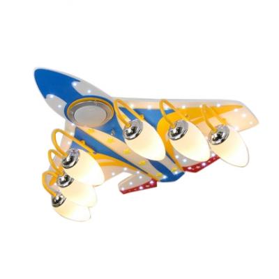 4 Lights Aircraft LED Flush Mount Kindergarten Boys Room Glass Ceiling Light in Chrome Finish