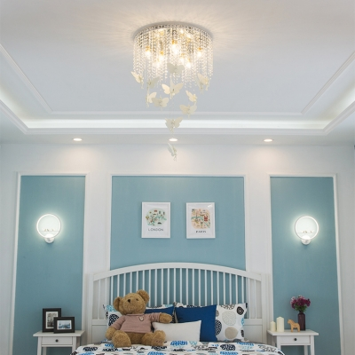 Contemporary Light Fixtures Beaded Chandelier Butterfly Flush Mount Crystal Chandelier in White
