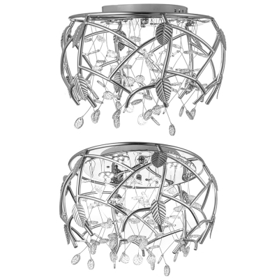 Contemporary Light Fixtures Flower Leaves Crystal Flush Mount Light for Living Room Dining Room