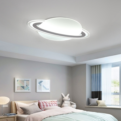 Boys Room Led Flush Ceiling Lamp White