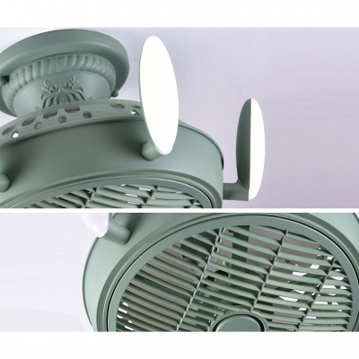 Macaroon Bladeless Ceiling Fan in White/Blue/Pink/Green/Gray with Cute Rabbit Ears