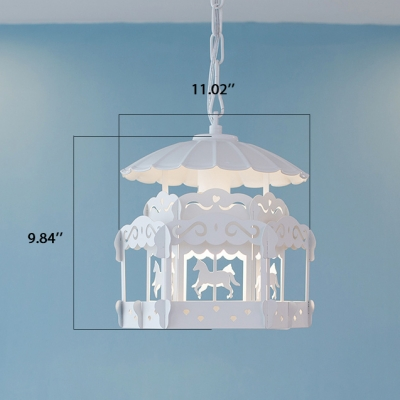 Merry-Go-Round/Bird Cage White Single Hanging Pendant Light for Girls Room