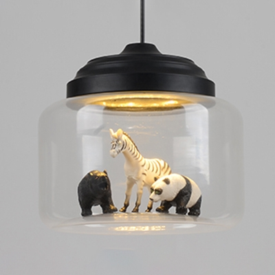 Metal Base Animals Black Finish Dwonrod 1 Light Pendant Light with Clear Glass at Random Type