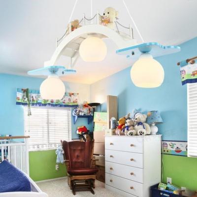 Bear Triple Lights Hanging Lamp White Glass Suspended Light for Amusement Park Girls Room