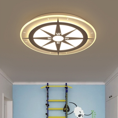 Modern Style Compass Boys Room LED Flush Ceiling Light Ultra-Thin