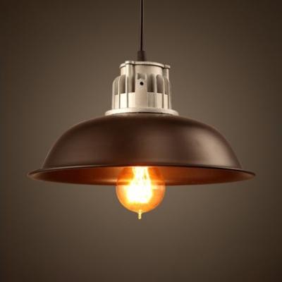 Black/Silver/Green/Red Finish 1 Light LED Hanging Pendant Light in Industrial Style for Warehouse Restaurant