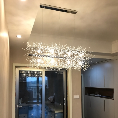 Rectangle Snow Crystal Pendant Lighting for Dining Room