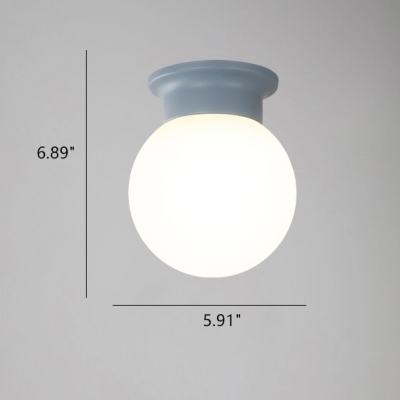 Colorful Simple Globe Flush Light Children Baby White Glass Single Light Ceiling Fixture