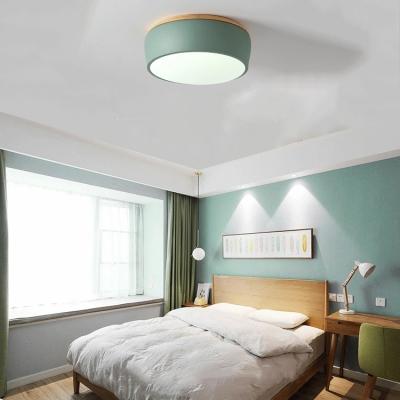 Macaron Modern Drum Flush Light Living Room Wooden LED Ceiling Fixture in Warm/White/Third Gear