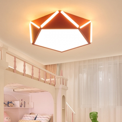 Acrylic Geometric Ceiling Fixture Colorful Modern Fashion Kids Youth LED Flush Mount Lighting