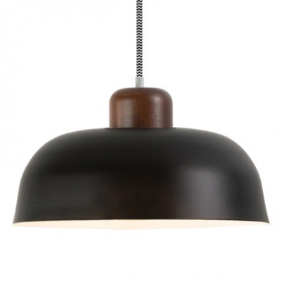 Black/Coffee Finish Single Head Hanging Lighting with Shallow Round Shade for Cafe