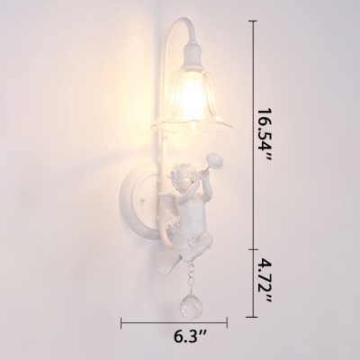 Glass Bell Shade Angle White Wall Sconce with Hanging Crystal for Stairway