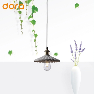 Industrial Style 1-Light Hanging Pendant Lamp with Scalloped Edged Cement Shade for Restaurant