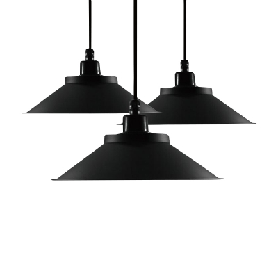 Industrial Style Single LED Light Pendant Fixture in Mystic Black Finish 4 Sizes Available