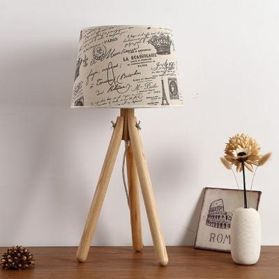 Rustic Style Tripod Table Lamp Fabric Shade 1 Head Decorative Table ...