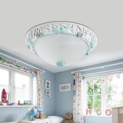 Children Room Seashell Ceiling Light Seaside Glass 1 Light Flush Mount Fixture in Warm/White