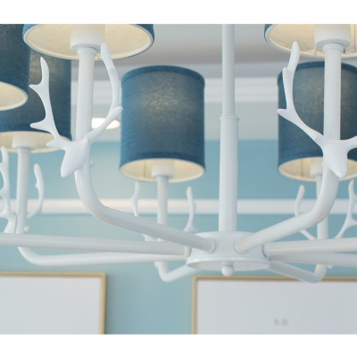 Nordic Style 3/6/8 Light Blue/White Cylinder Shade Hanging Chandelier with Antler
