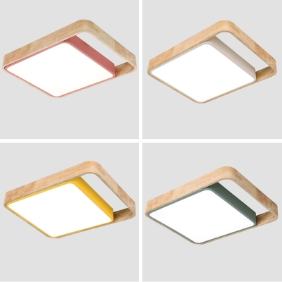 Rectangle Indoor Flushmount Simplicity Macaron Wooden LED Ceiling Lamp in Green/Red/White/Yellow