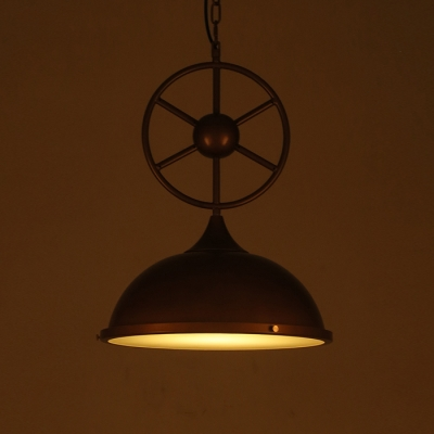 Vintage Industrial Style Wheel Design Copper Finish 1 Light Pendant Lamp with Metal Dome Shade