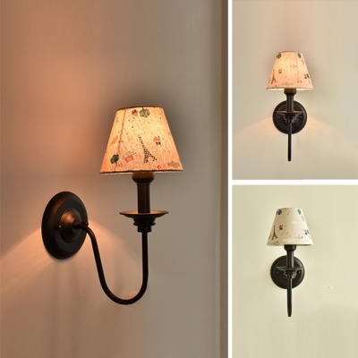 1 Light Tapered Wall Light with Gooseneck Retro Style Fabric Sconce Lighting for Balcony Foyer