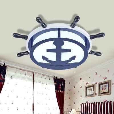 Acrylic Anchor Flush Mount Nautical Style Boys Bedroom LED Lighting Fixture in Navy Blue