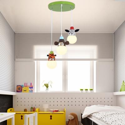 Zebra/Monkey/Giraffe Design Suspended Lamp Kindergarten Metal 3 Light Pendant Light in Multi Color