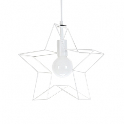Contempoary Downrod Ceiling Pendant with Hollow Star Shade
