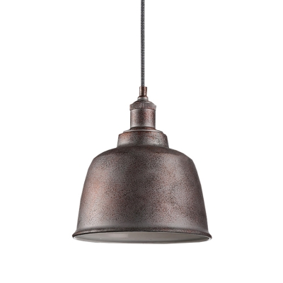 Distressed Iron/White Finish Industrial Style Dining Room Mini Pendant 8.66