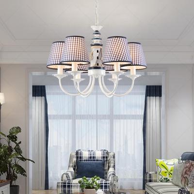 Navy Blue Trellis Chandelier Light Fabric 6 Lights Suspension Light for Children Room